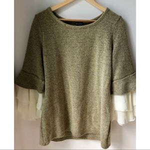 2/20$ Chiffon Trim Bell Sleeve Sweater
